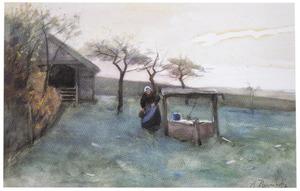 Boerin bij een waterput