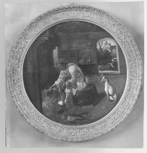 Episode uit de parabel van de Verloren Zoon: de Verloren Zoon eet uit de varkenstrog
