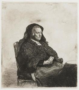 De moeder van de kunstenaar, zittend aan tafel