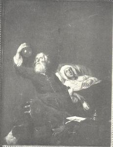 Interieur met dokter en zieke jonge vrouw