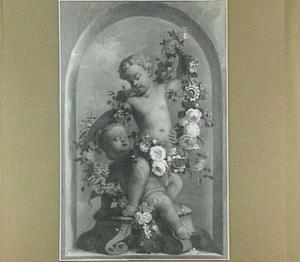 Twee putti met een bloemenkrans