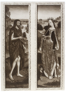 H. Johannes de Doper met op de achtergrond de doop in de Jordaan(linkerluik); H. Catharina van Alexandrië (rechterluik)