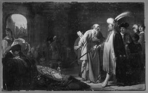 Elisa weigert de geschenken van Naäman aan te nemen (2 Koningen 5:16)