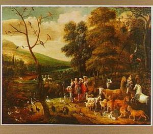 Landschap met de inscheping in de ark van Noach (Genesis 7:7-9)