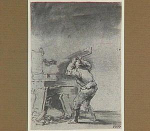 Lazarillo verbrijzelt een wand van het altaar en ontdekt de schat van de kluizenaar (Lazarillo de Tormes dl. 2, cap. 19, p. 116)