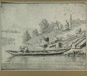 Aanlegplaats met boot en figuren