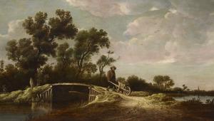 Rivierlandschap met figuren op een brug