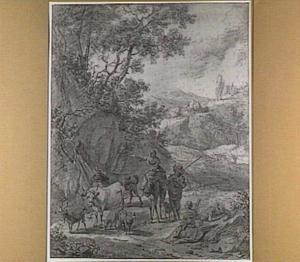 Italianiserend heuvellandschap met veedrijver en kudde