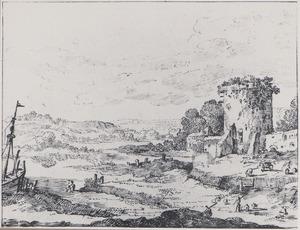 Rivierlandschap met een ronde toren