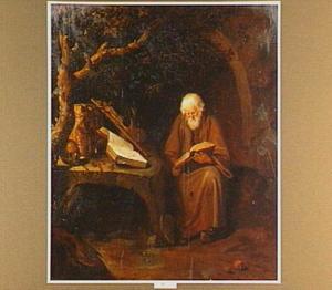 Lezende kluizenaar bij een stenen tafel  met een crucifix, een schedel en andere voorwerpen