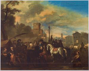 Paardenmarkt in een zuidelijke stad, op de achtergrond een kwakzalver