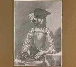 Zittende jonge vrouw met baret