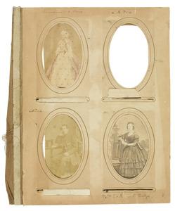 Albumblad met portretten van Ernestine Henriette Antoinette van der Duyn (1835-1871) en Louis Reinier Taets van Amerongen (1835-1921)