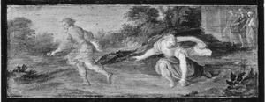 Atalanta raapt de appels van Hippomenes op