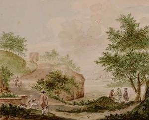 Heuvellandschap met figuren bij een meer