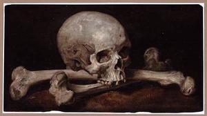 Een Memento Mori van een schedel met knekels