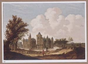 Gezicht op kasteel Egmond met wandelaars op een pad en vissers bij de slotgracht