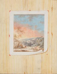 Trompe l'oeil met een landschapstekening