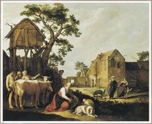 Boerderijscène met de wegzending van Hagar en Ismaël (Genesis 21:14-21)