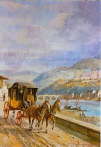 Expresse postkoets van de firma Baden bij Heidelberg