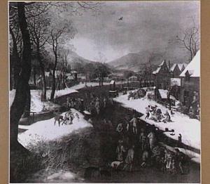 De kindermoord te Bethlehem in een winterlandschap