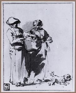 Twee lopende vrouwen en een hond
