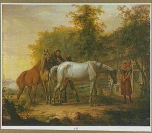 Landschap met paarden en een boerenfamilie voor hun boerderij