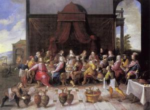 De bruiloft te Kana : Jezus geeft opdracht de vaten met water te vullen(Johannes 2:1-11)