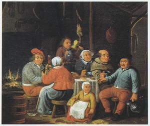 Boerengezelschap met een monnik aan tafel