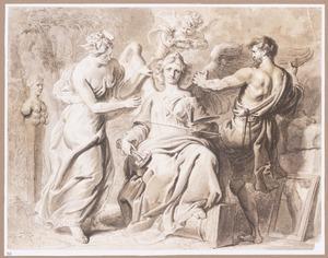 Allegorie van de Schilderkunst, Beeldhouwkunst en Architectuur, met Inventio en Geometria