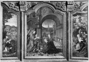 De H. Johannes de Evangelist op Patmos (links), de annunciatie (midden), de H. Hieronymus in de wildernis (rechts)