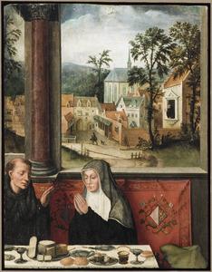 De  H. Benedictus en zijn zuster de H. Scholastica tijdens het tafelgebed