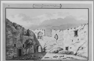 Interieur van het tot ruïne vervallen deel van huis Gameren bij Zaltbommel