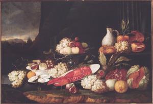Stilleven met vruchten en een kreeft in een landschap