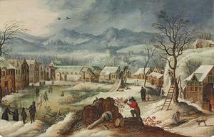 Weids winterlandschap met menselijke activiteiten: allegorie op de Winter