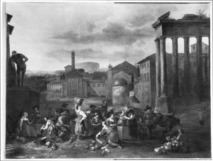 Groentemarkt bij Romeinse ruïnes (o.a. de tempel van Saturnus uit Rome en het beeld van de Hercules Farnese)