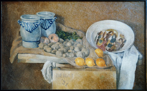Stilleven met citroenen, granaatappels, aardappelen, schaal en twee keukenpotten