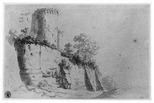 Ruïne van een muur met toren