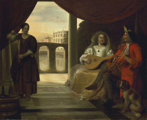 Elegant musicerend paar op een terras, met een dienstmeid die wijn inschenkt