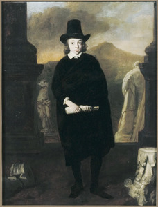 Portret van een jongen, ten voeten uit in een landschap met klassieke beelden