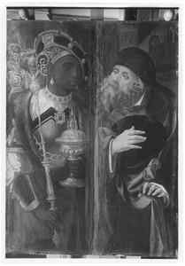 Caspar (links); Jozef (rechts)  (uit een voorstelling van de aanbidding van de Wijzen)