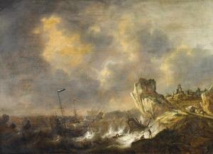 Rotskust met een schip op wilde zee