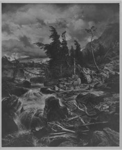 Hooggebergte met waterval