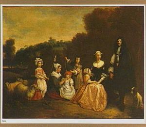 Portret van een familie in een pastoraal landschap