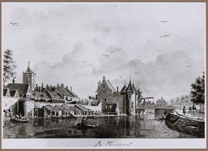 Gezicht op de stadswal met de Weerdpoort en Weerdbrug, te Utrecht