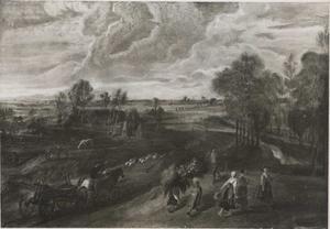 Landschap met de terugkeer na de oogst