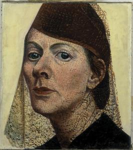 Zelfportret met hoed en voile