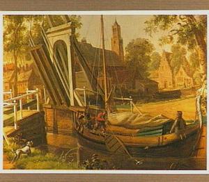 Dorpsgezicht met zeilbootje voor een ophaalbrug (detail van een behangsel)