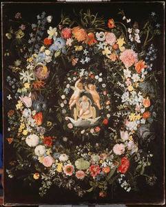 Dubbele bloemenkrans rondom een medaillion met voorstelling van de triomf van Amor
