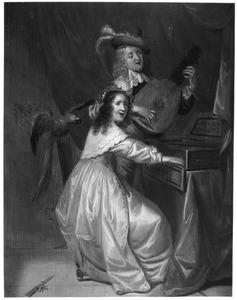 Elegant musicerend paar in een interieur, met een papegaai